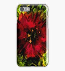 Red Flower and Green Leaves with Black Lines iPhone Case/Skin