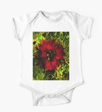 Red Flower and Green Leaves with Black Lines One Piece - Short Sleeve