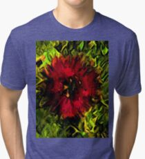 Red Flower and Green Leaves with Black Lines Tri-blend T-Shirt