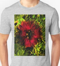 Red Flower and Green Leaves with Black Lines T-Shirt