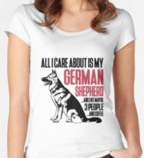 All I Care About Is My German Shepherd And Coffee black Women's Fitted Scoop T-Shirt