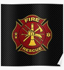 Firefighter Diamond Plate Design Poster