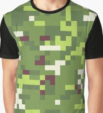 Camouflage military background in pixel style. Seamless pattern. Graphic T-Shirt