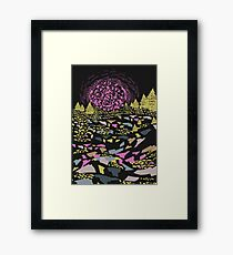 Trippy hills colorful Framed Print