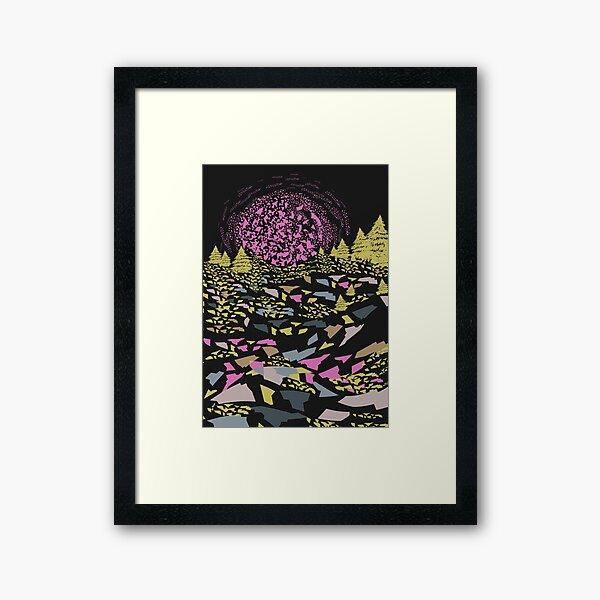 Trippy hills colorful Framed Art Print