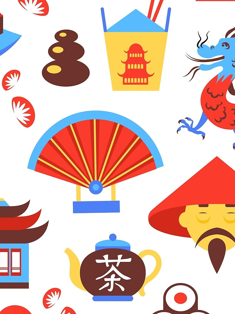 China Travel Symbols Of Traditional Chinese Culture Seamless Pattern