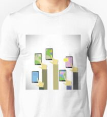 colorful illustration  Hands with touching a buttons on a white  background T-Shirt