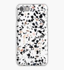 Terrazzo Stone Pattern Black and Orange Peach iPhone Case/Skin