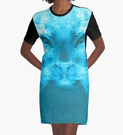 LightCyan Graphic T-Shirt Dress