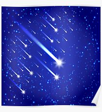 Space background with stars and comets Poster
