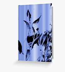 Abstract black flames and neon blue background pattern Greeting Card