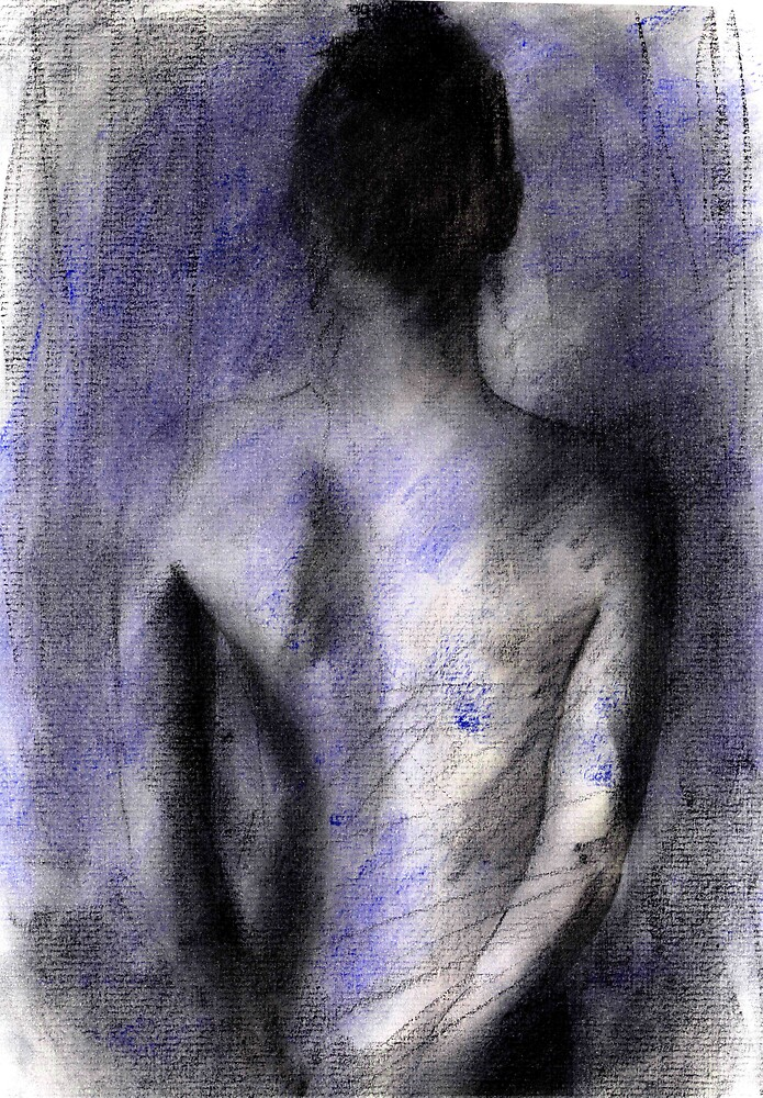 rear view nude in blue by cliffwarner