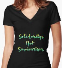 Solidarity, not Saviourism Women's Fitted V-Neck T-Shirt