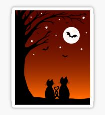 Halloween Cats Looking At The Moon Sticker