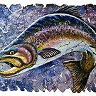 Weinlese-blaues Forellen-Fresko von OLena  Art ❣️