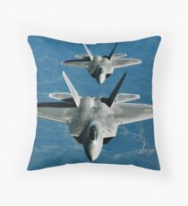 Two F-15's fly in formation behind a KC-10 Extender. Throw Pillow