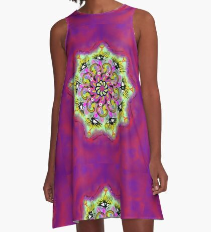 Spider Eye Mandala - Magenta BG A-Line Dress