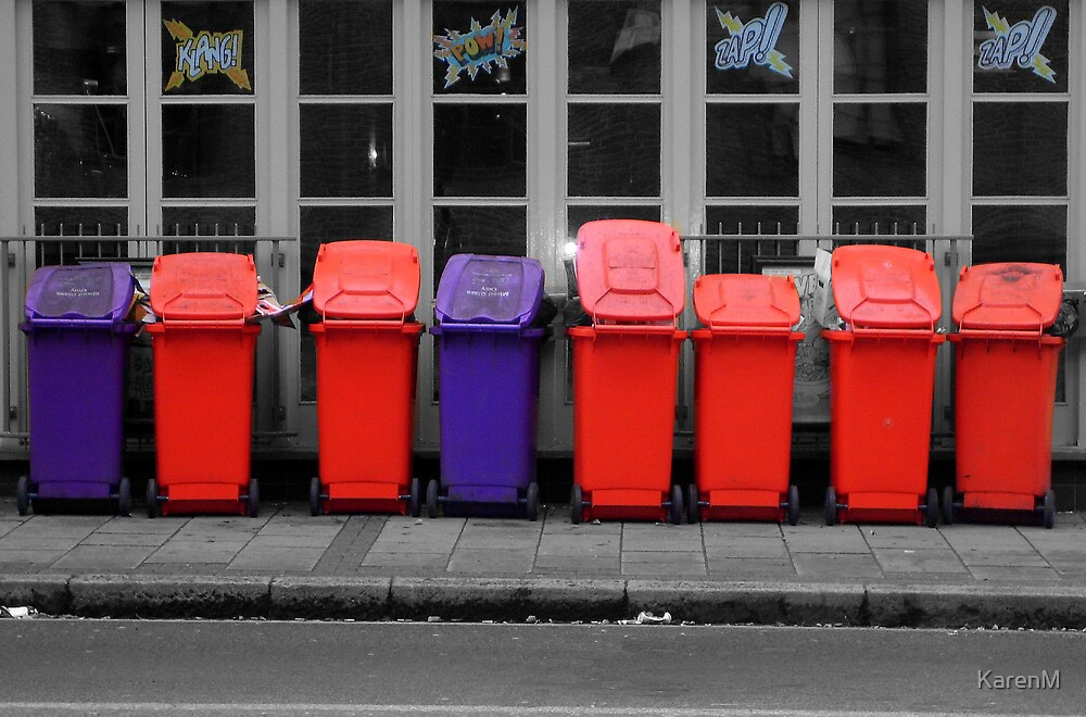 Pretty Bins All In A Row by KarenM