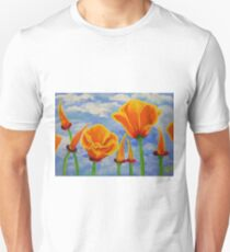 California Poppies Cloudy Sky Poppy Summer Flower Nature Landscape Field Wildflowers Bright Orange T-Shirt