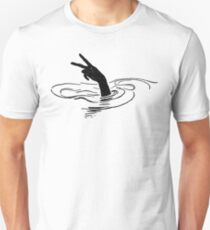 John Dickson Batten - Hand Showing Peace Sign Rising Up from the Waves Unisex T-Shirt