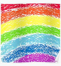 Pastel crayon painted rainbow, vector image Poster