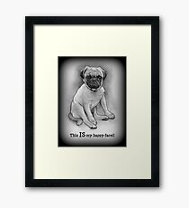 Pug Dog, Humor, This IS My Happy Face, Cute/Ugly Puppy Framed Print