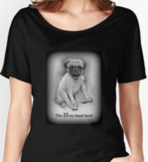 Pug Dog, Humor, This IS My Happy Face, Cute/Ugly Puppy Women's Relaxed Fit T-Shirt