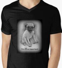 Pug Dog, Humor, This IS My Happy Face, Cute/Ugly Puppy Men's V-Neck T-Shirt