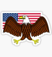 American Bald Eagle and Flag Sticker