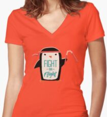 Fight Or Flight Women's Fitted V-Neck T-Shirt