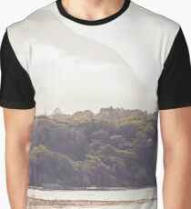 Foggy island sunrise landscape on the beach Graphic T-Shirt