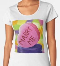 Marry Me Candy Hearts Heart Colorful Candies Valentines Day Sweetheart Love Lover Girlfriend Wife Fun Happy Women's Premium T-Shirt