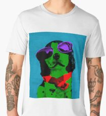 FUNNY DOG! Green Blue Men's Premium T-Shirt