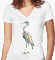 Crane #2 - Bird Ink Painting Women's Fitted V-Neck T-Shirt