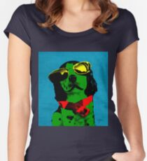 FUNNY DOG! Green Blue Women's Fitted Scoop T-Shirt
