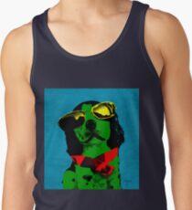 FUNNY DOG! Green Blue Tank Top