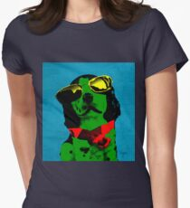 FUNNY DOG! Green Blue Women's Fitted T-Shirt