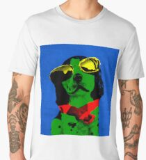 FUNNY DOG Green Blue Men's Premium T-Shirt