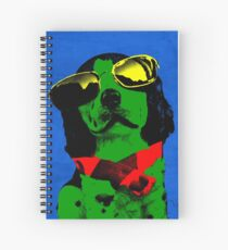 FUNNY DOG Green Blue Spiral Notebook