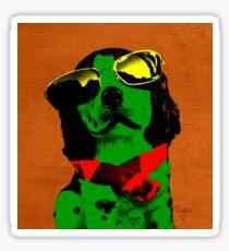 FUNNY DOG Green Red Sticker