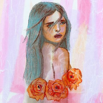 Freya Girl with Blue Hair by katiemaryart