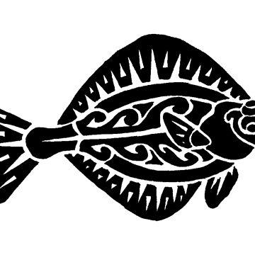 Flat Fish Tribal Design  by KitayamaDesigns