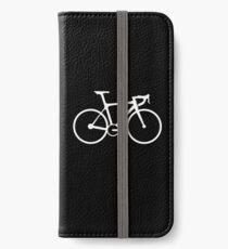 Bicycle, Racing Bike, Road Bike, Racing Bicycle, White on Black iPhone Wallet/Case/Skin