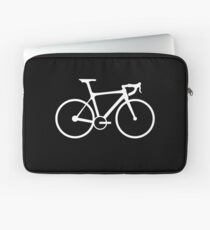 Bicycle, Racing Bike, Road Bike, Racing Bicycle, White on Black Laptop Sleeve