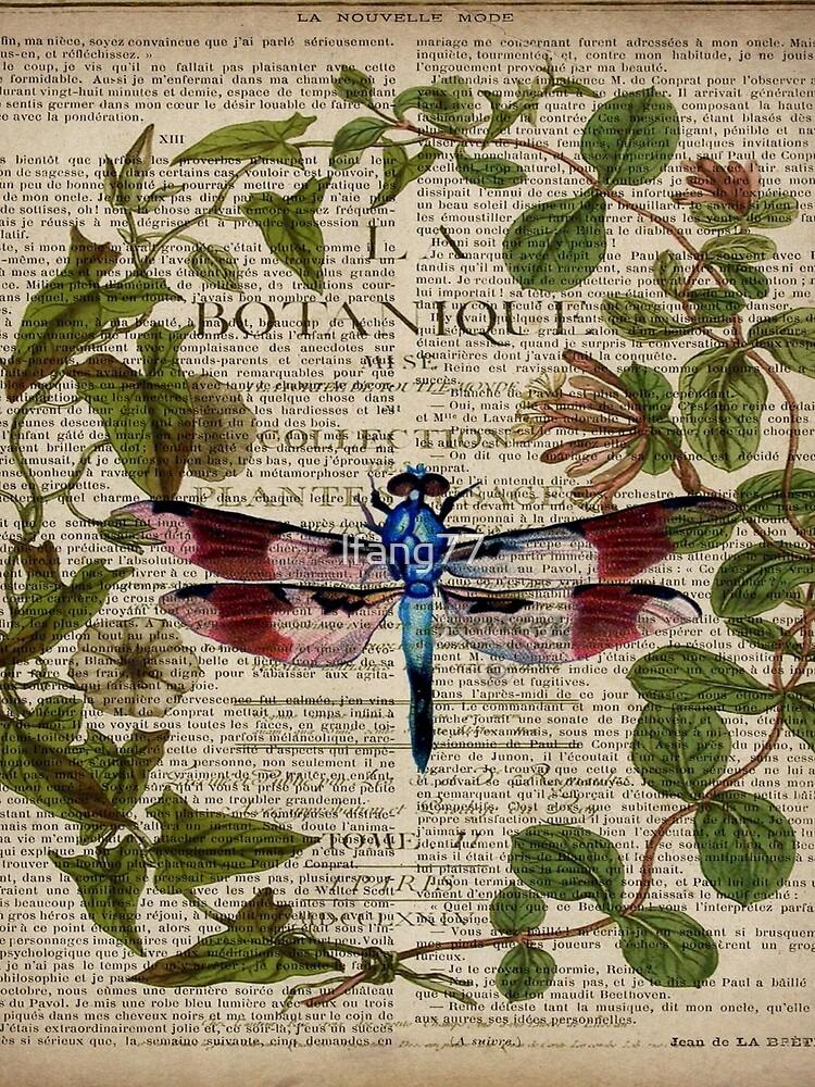 französische Libelle der modernen Blätter botanische Kunstweinlese von lfang77