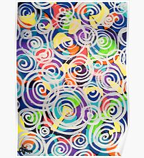 Easter Sunrise Swirls Twirling Eggs Colors Yellow Orange Green Turquoise Blue Purple Violet Shapes Abstract Poster