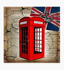 rustic grunge union jack retro london telephone booth Photographic Print