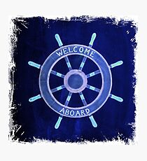 chic rustic beach fashion navy blue Ship Wheel nautical Photographic Print