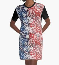 Spinning Tops Red White Blue and Swirls Patriotic  Graphic T-Shirt Dress