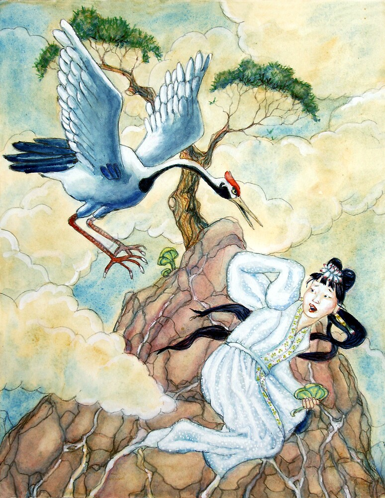 Lady white snake being attacked by the  Immortal of Kun Lun mountain by Fiona O'Beirne